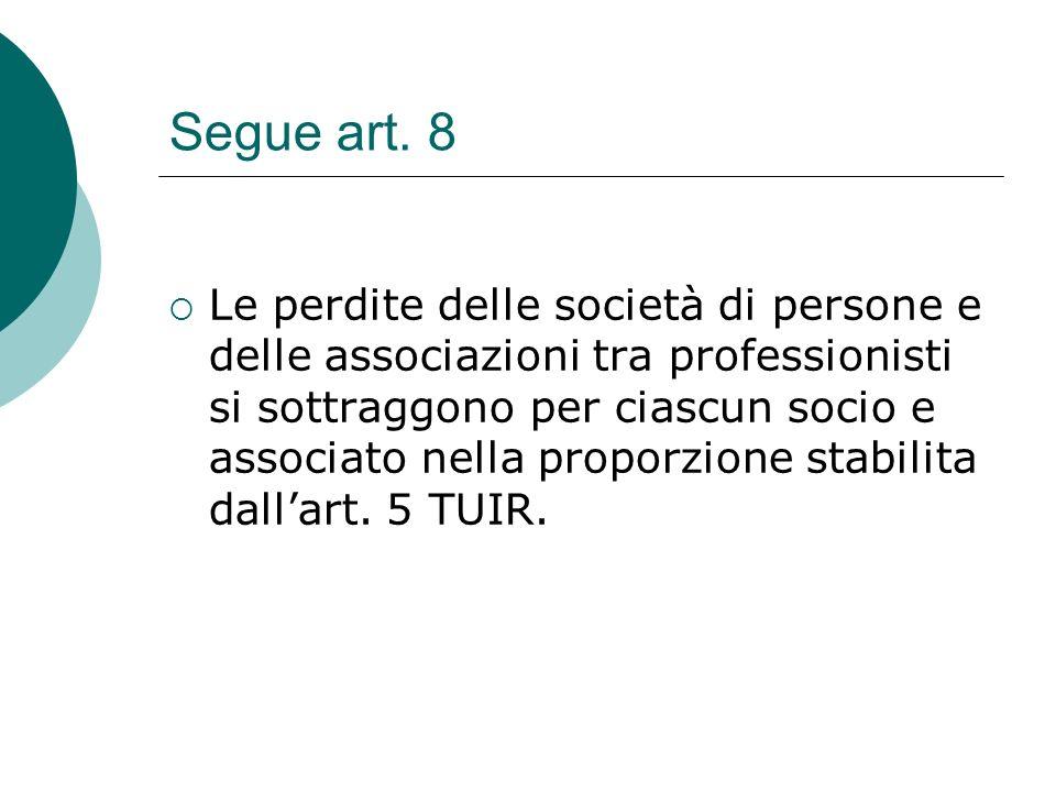 Segue art. 8  Le perdite delle società di persone e delle associazioni tra professionisti si sottraggono per ciascun socio e associato nella proporzi