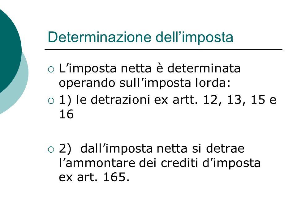 Determinazione dell'imposta  L'imposta netta è determinata operando sull'imposta lorda:  1) le detrazioni ex artt. 12, 13, 15 e 16  2) dall'imposta