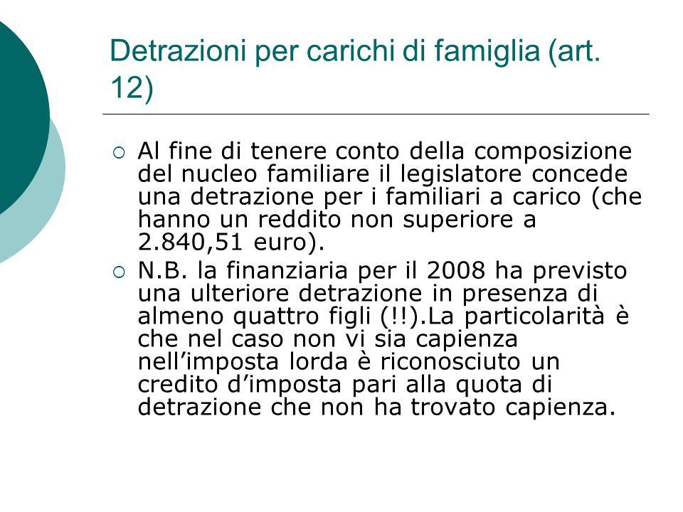 Detrazioni per carichi di famiglia (art. 12)  Al fine di tenere conto della composizione del nucleo familiare il legislatore concede una detrazione p