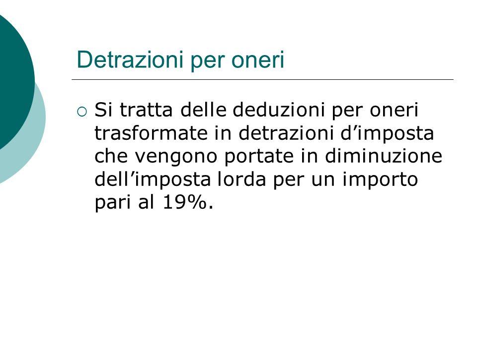 Detrazioni per oneri  Si tratta delle deduzioni per oneri trasformate in detrazioni d'imposta che vengono portate in diminuzione dell'imposta lorda p