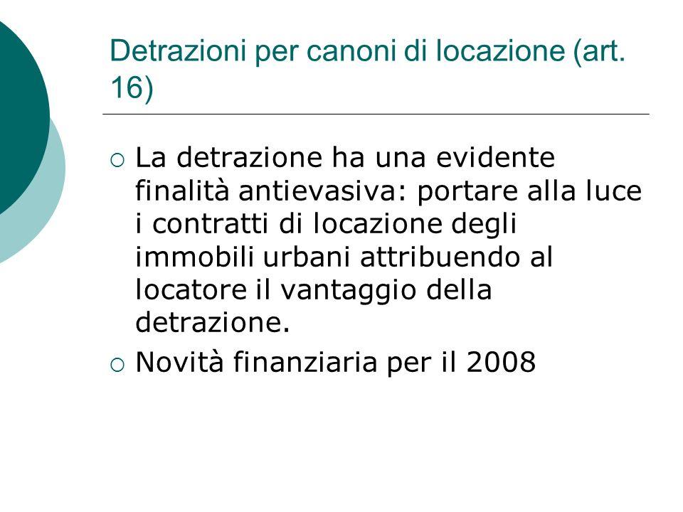 Detrazioni per canoni di locazione (art. 16)  La detrazione ha una evidente finalità antievasiva: portare alla luce i contratti di locazione degli im
