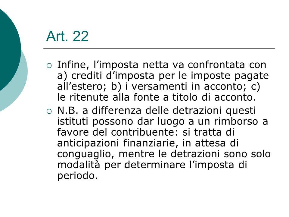 Art. 22  Infine, l'imposta netta va confrontata con a) crediti d'imposta per le imposte pagate all'estero; b) i versamenti in acconto; c) le ritenute