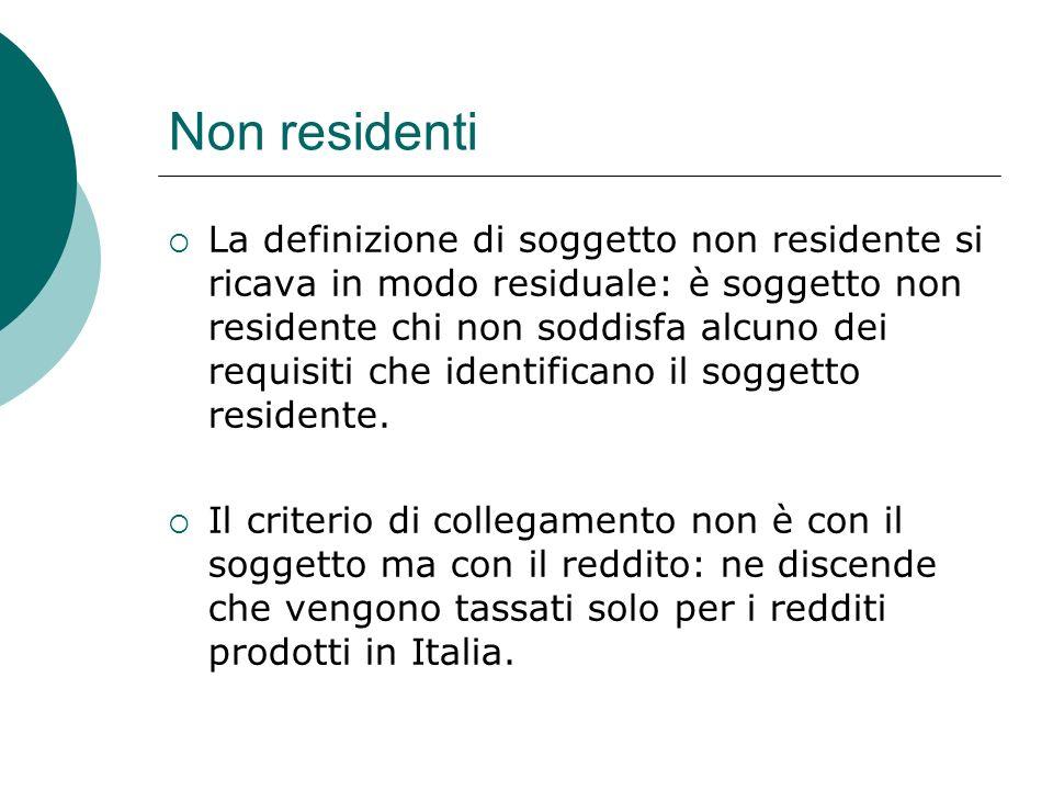 Non residenti  La definizione di soggetto non residente si ricava in modo residuale: è soggetto non residente chi non soddisfa alcuno dei requisiti c