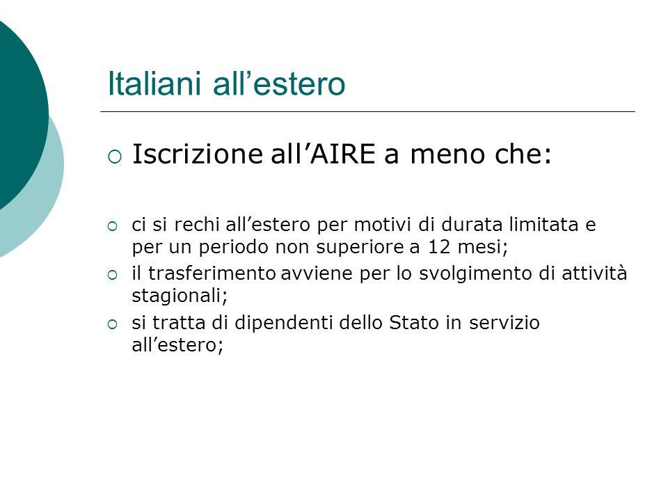 Italiani all'estero  Iscrizione all'AIRE a meno che:  ci si rechi all'estero per motivi di durata limitata e per un periodo non superiore a 12 mesi;
