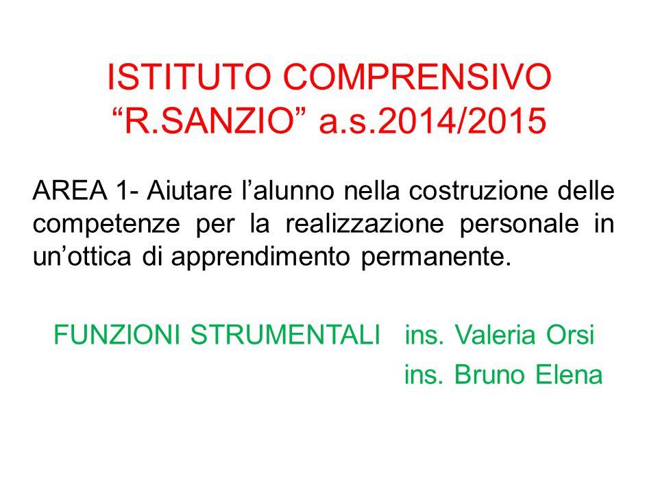 """ISTITUTO COMPRENSIVO """"R.SANZIO"""" a.s.2014/2015 AREA 1- Aiutare l'alunno nella costruzione delle competenze per la realizzazione personale in un'ottica"""