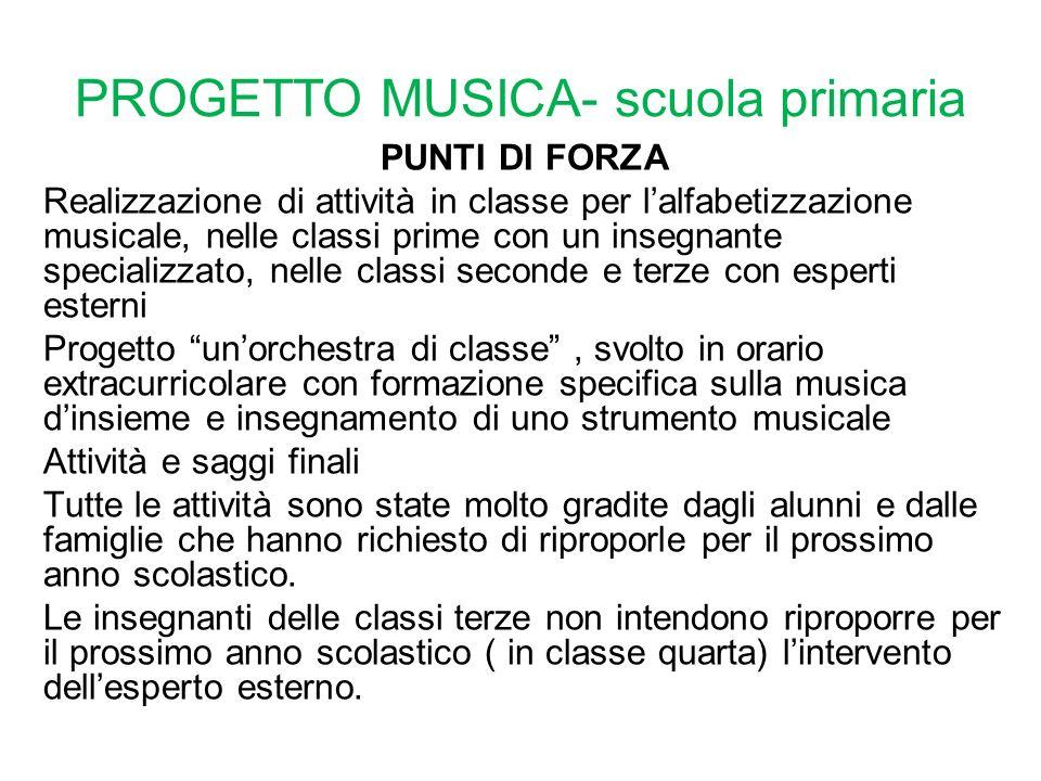 PROGETTO MUSICA- scuola primaria PUNTI DI FORZA Realizzazione di attività in classe per l'alfabetizzazione musicale, nelle classi prime con un insegna