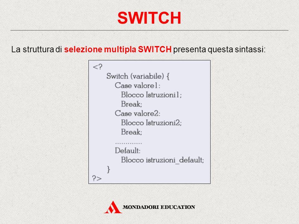 SWITCH La struttura di selezione multipla SWITCH presenta questa sintassi: