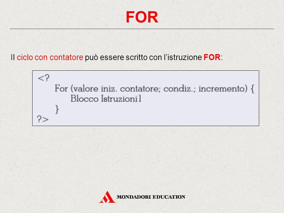 FOR Il ciclo con contatore può essere scritto con l'istruzione FOR: