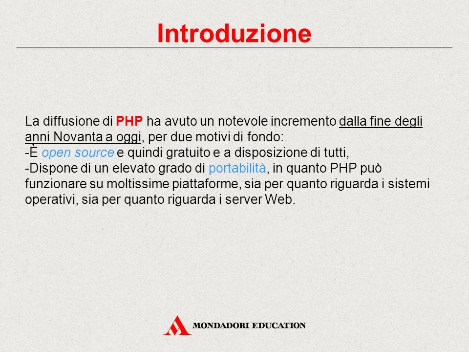 Introduzione Un file PHP differisce da un documento HTML per la presenza di righe di comandi, insieme ai comandi HTML.