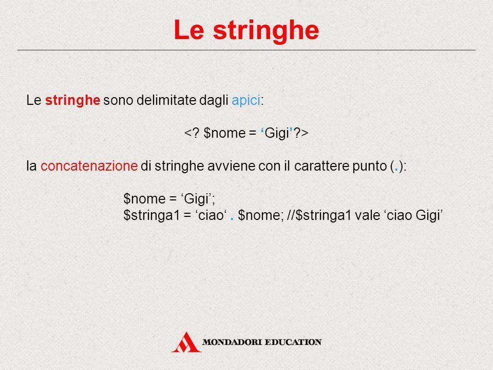Le stringhe Le stringhe sono delimitate dagli apici: la concatenazione di stringhe avviene con il carattere punto (.): $nome = 'Gigi'; $stringa1 = 'ciao'.