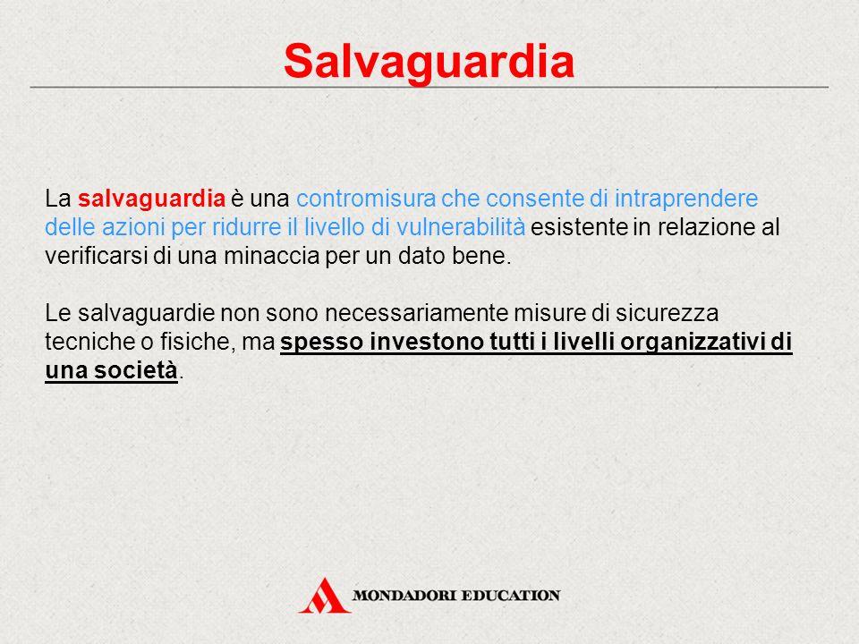 Salvaguardia La salvaguardia è una contromisura che consente di intraprendere delle azioni per ridurre il livello di vulnerabilità esistente in relazi