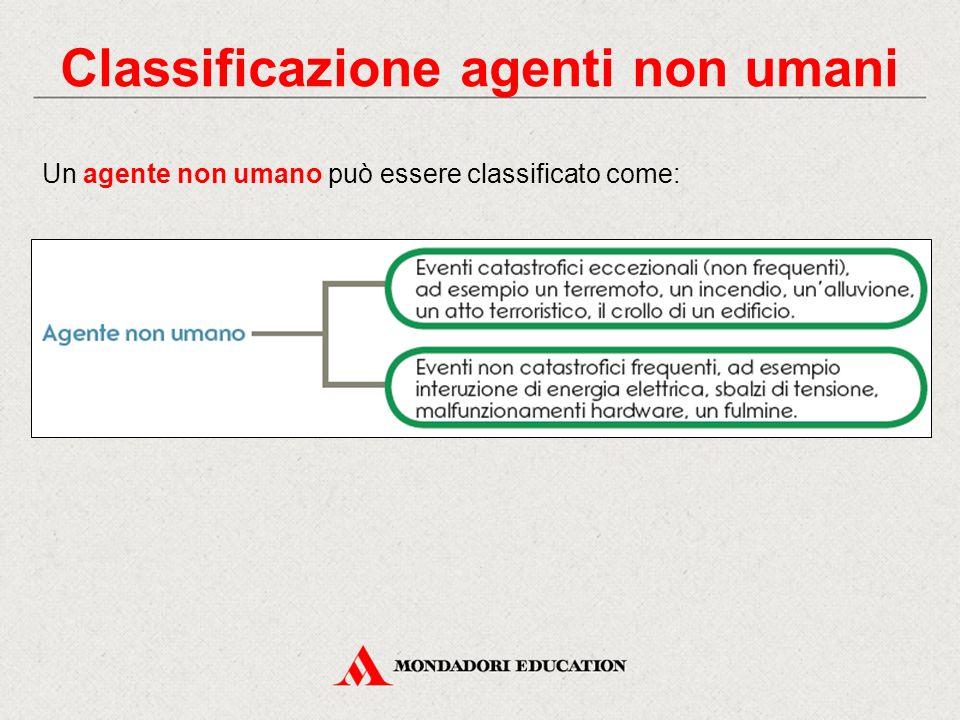 Classificazione agenti non umani Un agente non umano può essere classificato come: