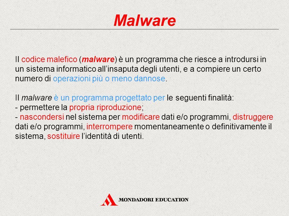 Malware Il codice malefico (malware) è un programma che riesce a introdursi in un sistema informatico all'insaputa degli utenti, e a compiere un certo
