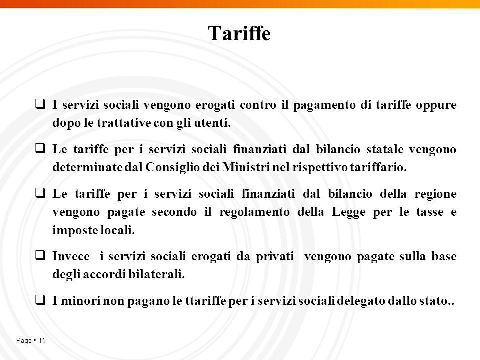 Page  11 Tariffe  I servizi sociali vengono erogati contro il pagamento di tariffe oppure dopo le trattative con gli utenti.