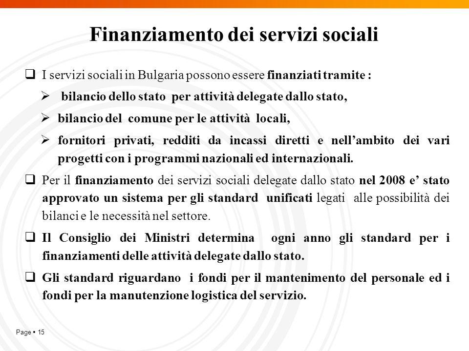 Page  15 Finanziamento dei servizi sociali  I servizi sociali in Bulgaria possono essere finanziati tramite :  bilancio dello stato per attività delegate dallo stato,  bilancio del comune per le attività locali,  fornitori privati, redditi da incassi diretti e nell'ambito dei vari progetti con i programmi nazionali ed internazionali.