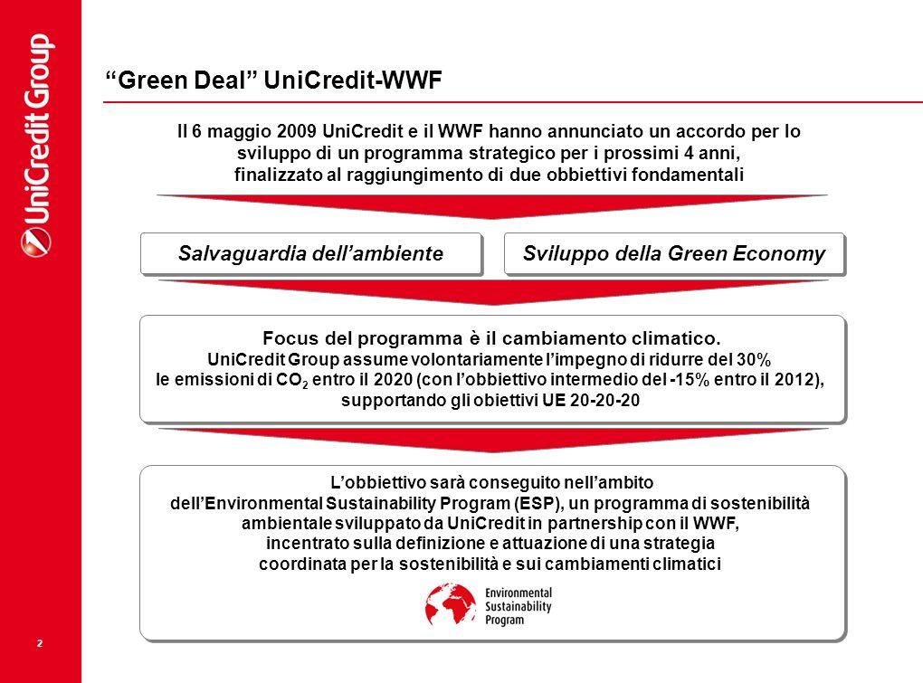 """2 """"Green Deal"""" UniCredit-WWF Salvaguardia dell'ambiente Sviluppo della Green Economy Il 6 maggio 2009 UniCredit e il WWF hanno annunciato un accordo p"""