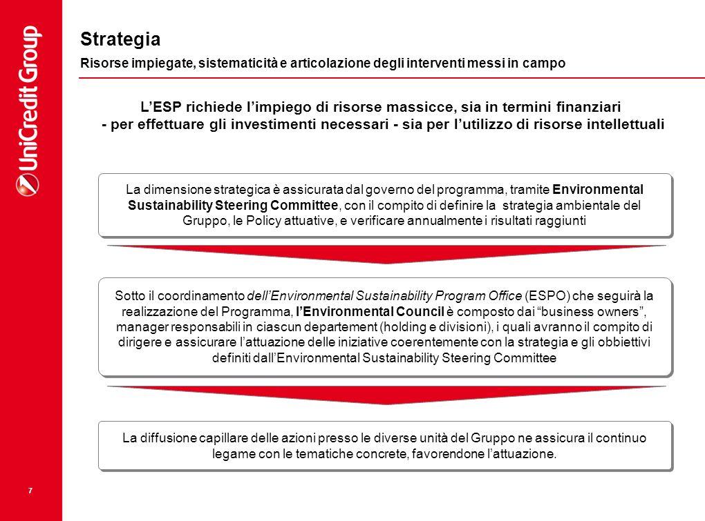 7 Strategia Risorse impiegate, sistematicità e articolazione degli interventi messi in campo La dimensione strategica è assicurata dal governo del pro