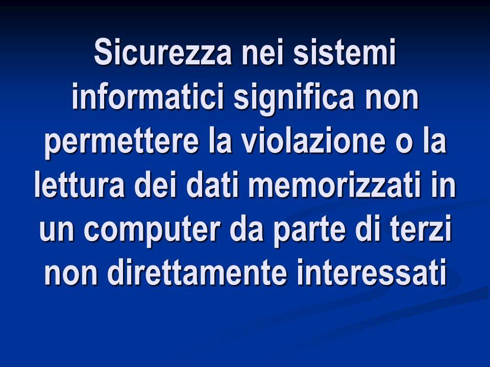 Sicurezza nei sistemi informatici significa non permettere la violazione o la lettura dei dati memorizzati in un computer da parte di terzi non direttamente interessati