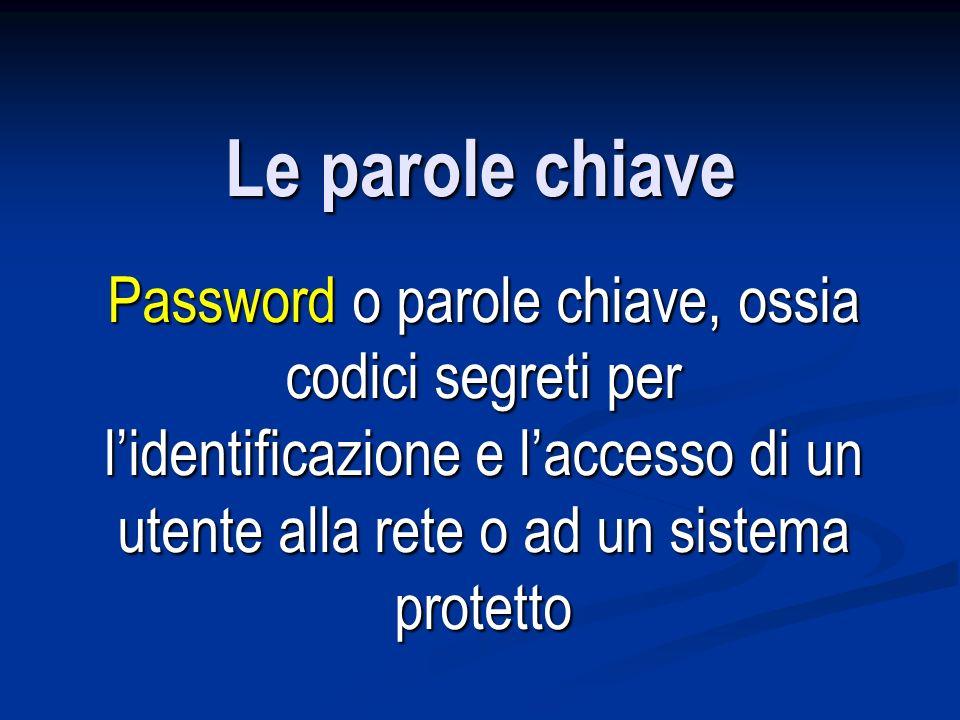 Le parole chiave Password o parole chiave, ossia codici segreti per l'identificazione e l'accesso di un utente alla rete o ad un sistema protetto