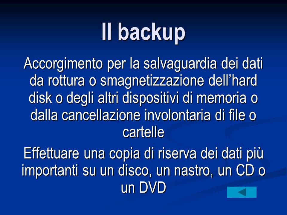 Il backup Accorgimento per la salvaguardia dei dati da rottura o smagnetizzazione dell'hard disk o degli altri dispositivi di memoria o dalla cancellazione involontaria di file o cartelle Effettuare una copia di riserva dei dati più importanti su un disco, un nastro, un CD o un DVD
