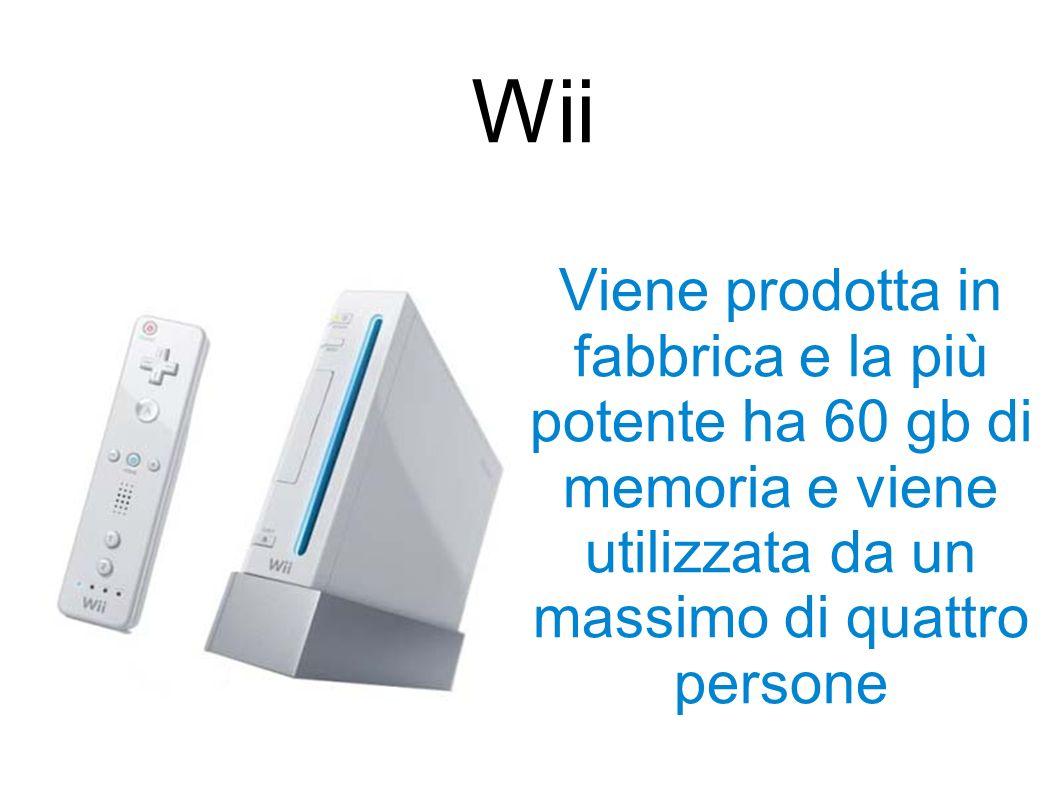 Viene prodotta in fabbrica e la più potente ha 60 gb di memoria e viene utilizzata da un massimo di quattro persone Wii