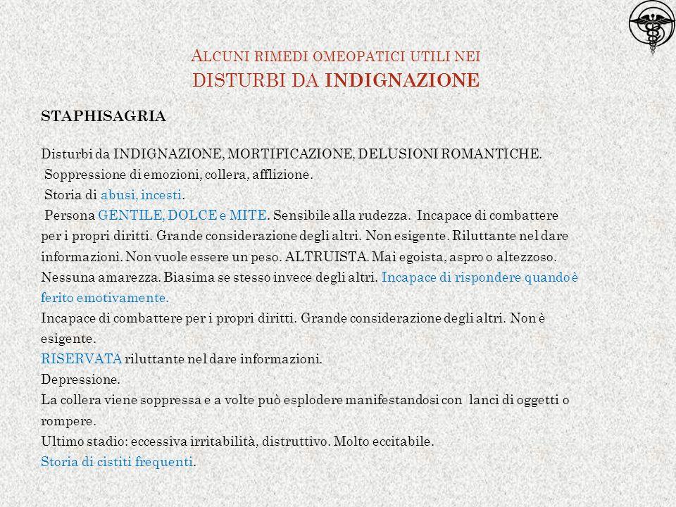 STAPHISAGRIA Disturbi da INDIGNAZIONE, MORTIFICAZIONE, DELUSIONI ROMANTICHE.