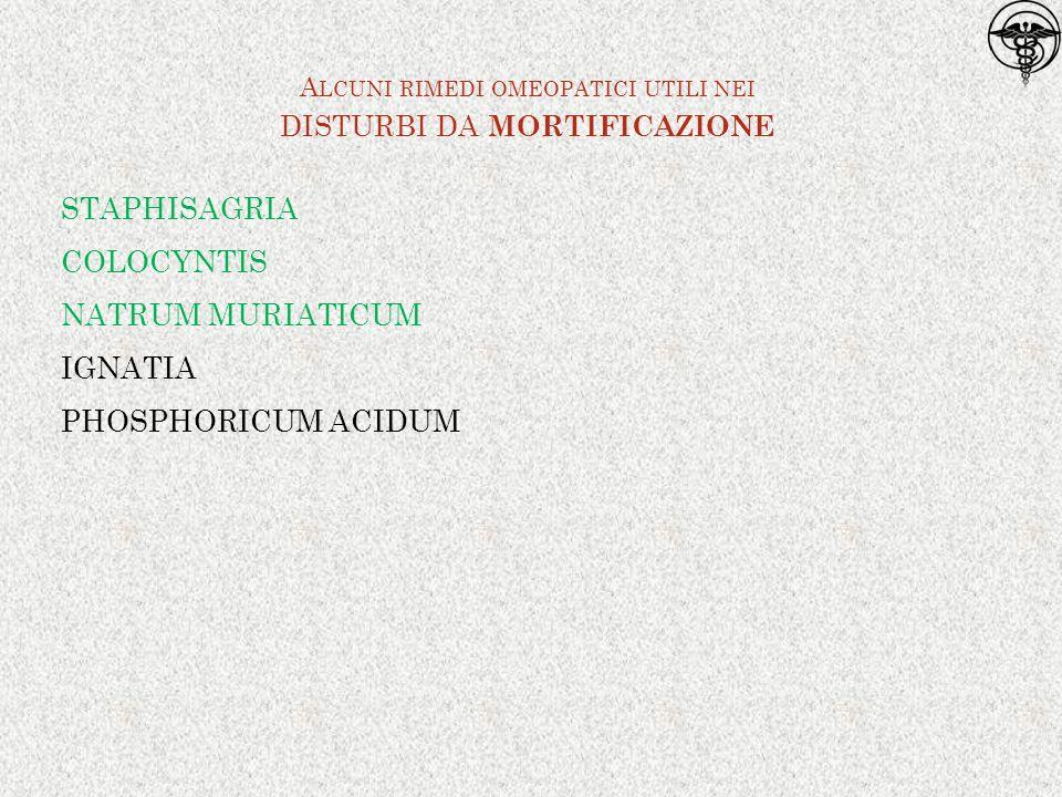 STAPHISAGRIA COLOCYNTIS NATRUM MURIATICUM IGNATIA PHOSPHORICUM ACIDUM