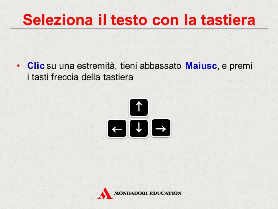Clic su una estremità, tieni abbassato Maiusc, e premi i tasti freccia della tastiera     Seleziona il testo con la tastiera