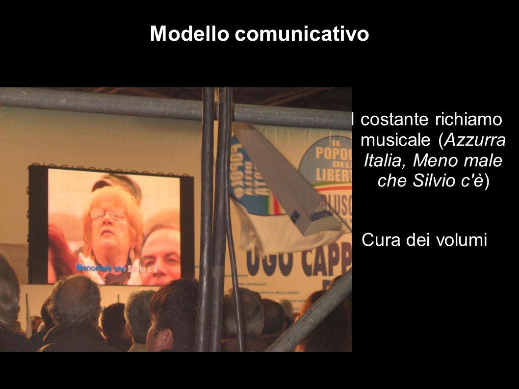 Il costante richiamo musicale (Azzurra Italia, Meno male che Silvio c è) Cura dei volumi