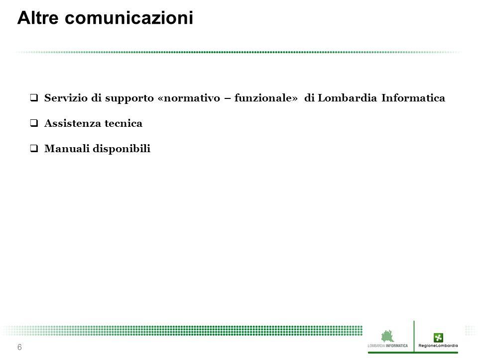 Altre comunicazioni 6  Servizio di supporto «normativo – funzionale» di Lombardia Informatica  Assistenza tecnica  Manuali disponibili