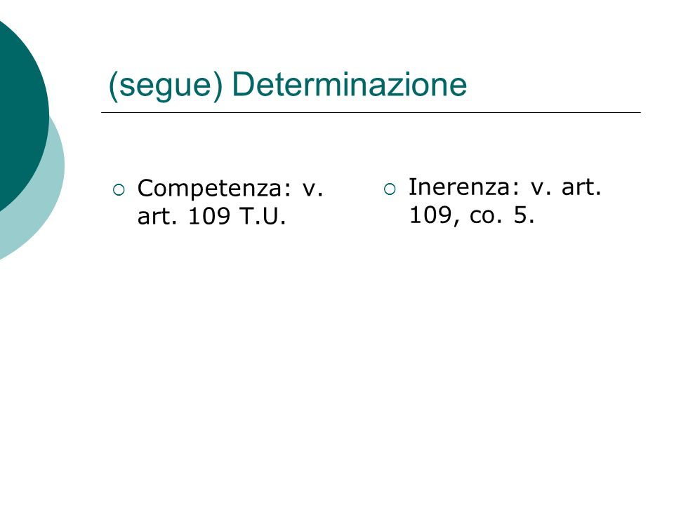(segue) Determinazione  Competenza: v. art. 109 T.U.  Inerenza: v. art. 109, co. 5.