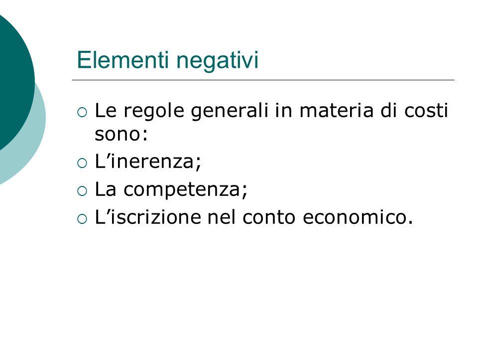 Elementi negativi  Le regole generali in materia di costi sono:  L'inerenza;  La competenza;  L'iscrizione nel conto economico.