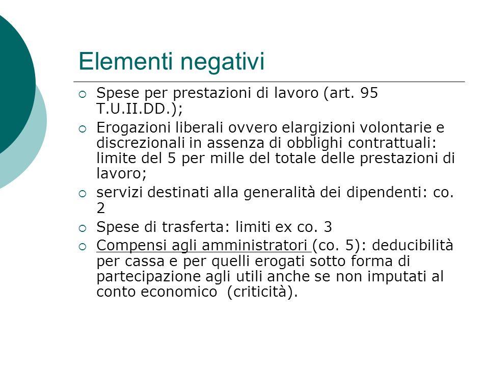Elementi negativi  Spese per prestazioni di lavoro (art.