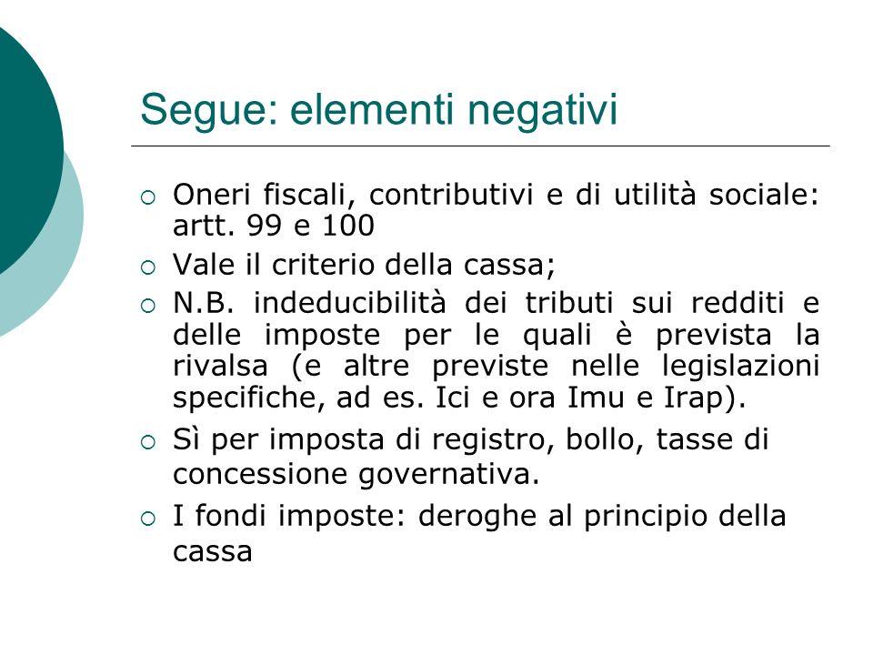 Segue: elementi negativi  Oneri fiscali, contributivi e di utilità sociale: artt.