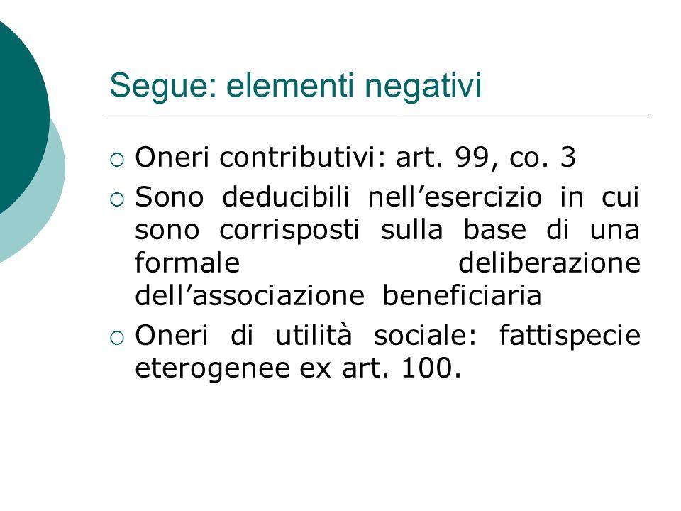Segue: elementi negativi  Oneri contributivi: art.