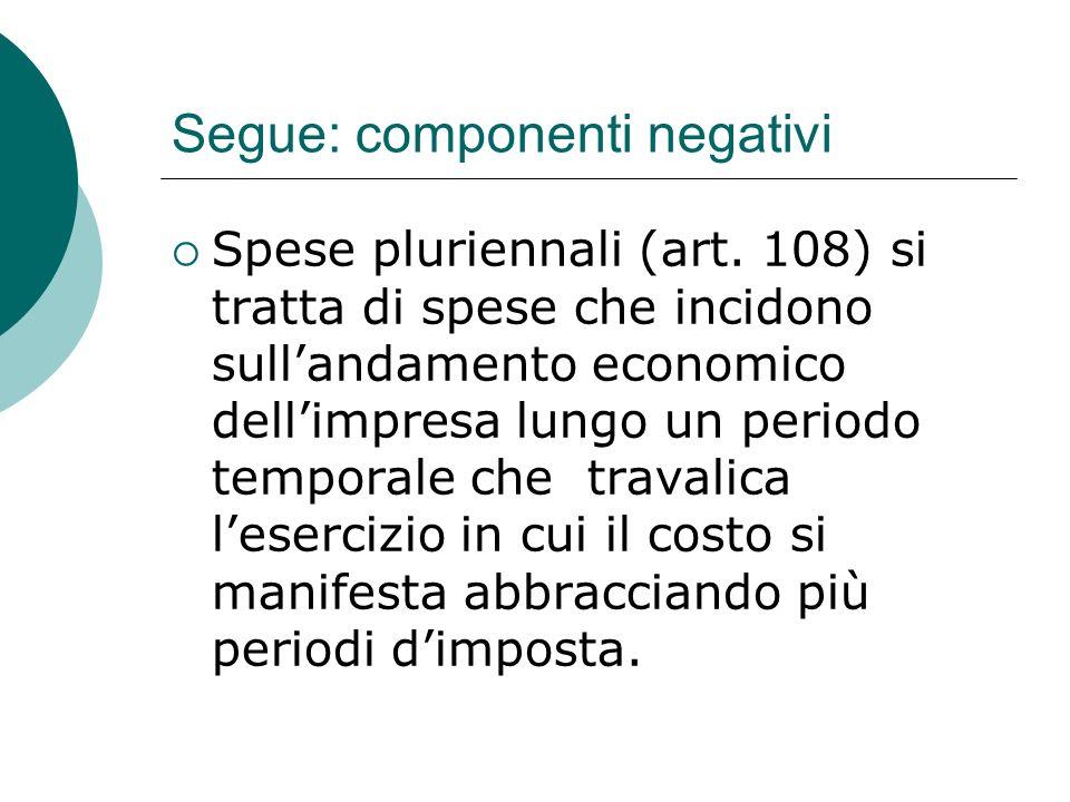 Segue: componenti negativi  Spese pluriennali (art.