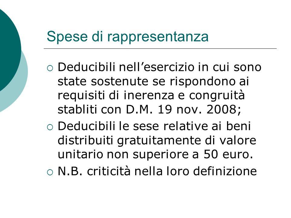 Spese di rappresentanza  Deducibili nell'esercizio in cui sono state sostenute se rispondono ai requisiti di inerenza e congruità stabliti con D.M.