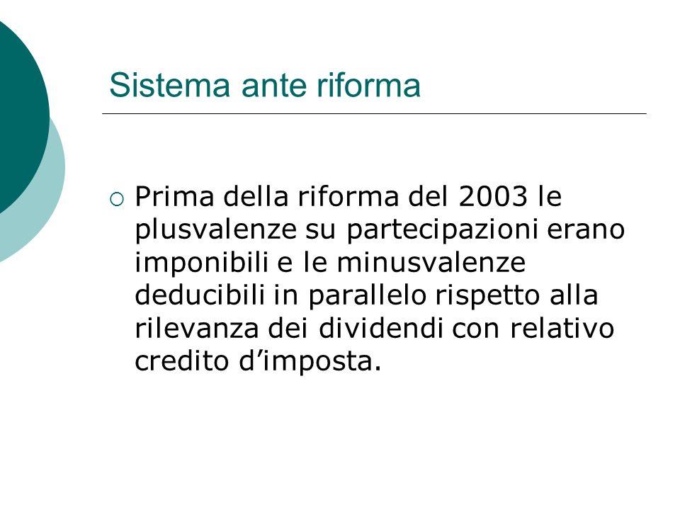 Sistema ante riforma  Prima della riforma del 2003 le plusvalenze su partecipazioni erano imponibili e le minusvalenze deducibili in parallelo rispetto alla rilevanza dei dividendi con relativo credito d'imposta.