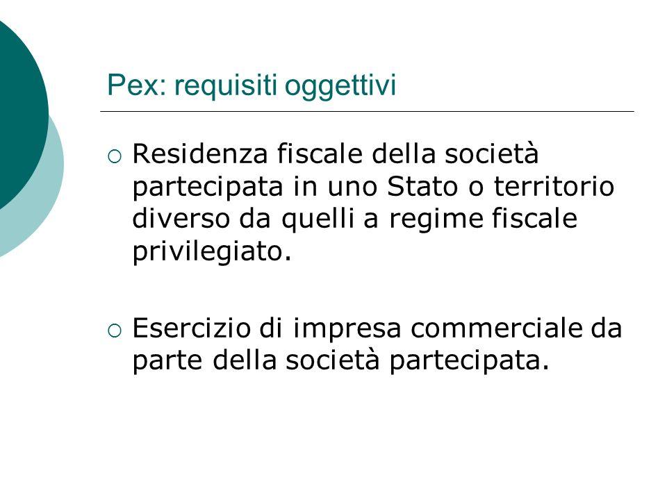 Pex: requisiti oggettivi  Residenza fiscale della società partecipata in uno Stato o territorio diverso da quelli a regime fiscale privilegiato.