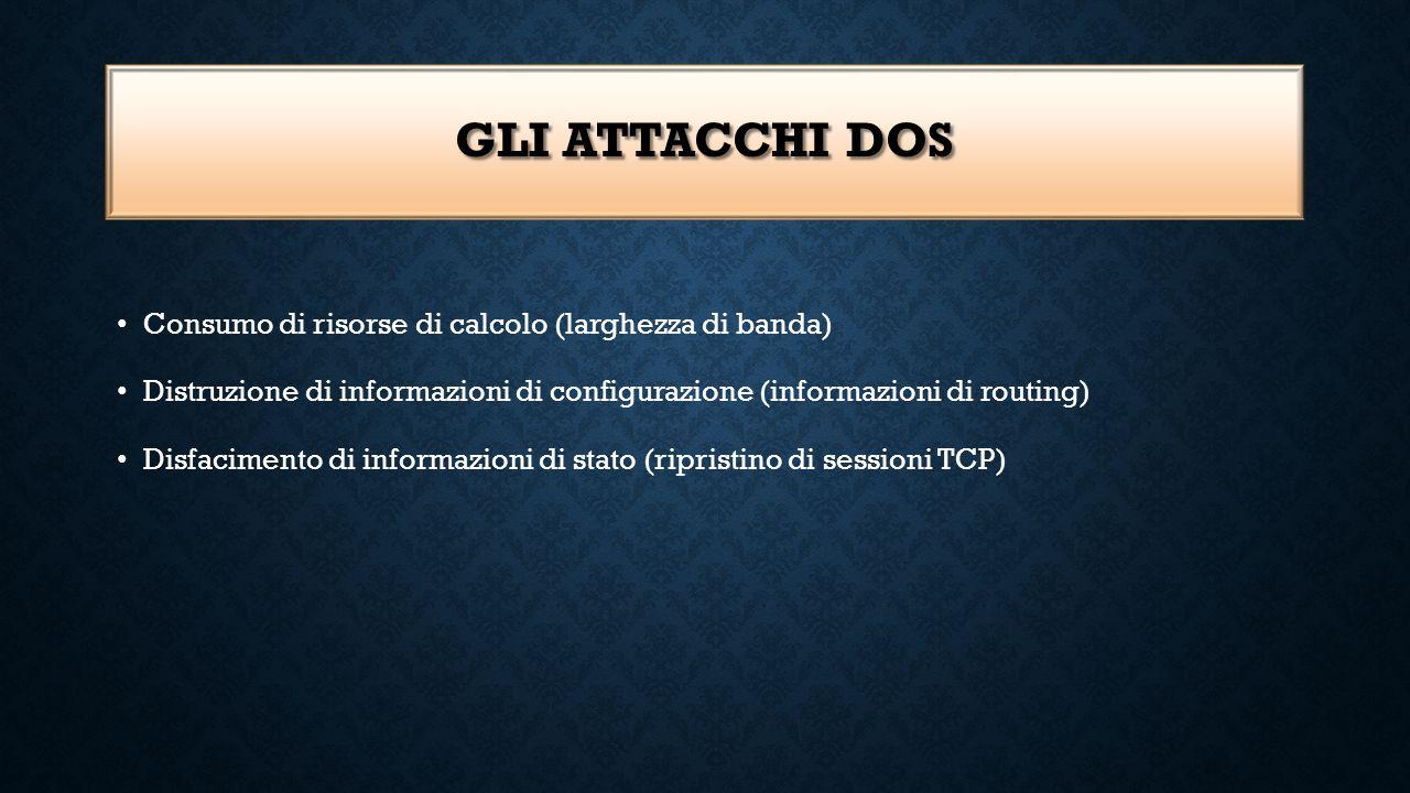 GLI ATTACCHI DOS Consumo di risorse di calcolo (larghezza di banda) Distruzione di informazioni di configurazione (informazioni di routing) Disfacimen