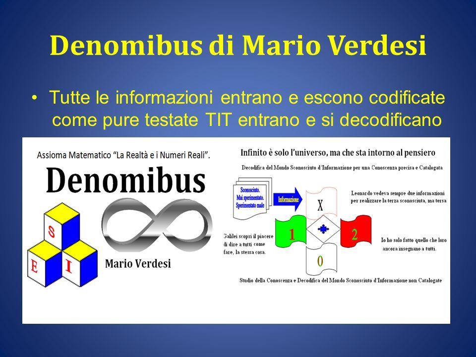 Denomibus di Mario Verdesi Tutte le informazioni entrano e escono codificate come pure testate TIT entrano e si decodificano