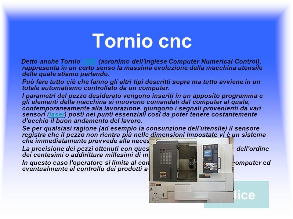 Tornio cnc Detto anche Tornio CNC (acronimo dell inglese Computer Numerical Control), rappresenta in un certo senso la massima evoluzione della macchina utensile della quale stiamo parlando.CNC Può fare tutto ciò che fanno gli altri tipi descritti sopra ma tutto avviene in un totale automatismo controllato da un computer.