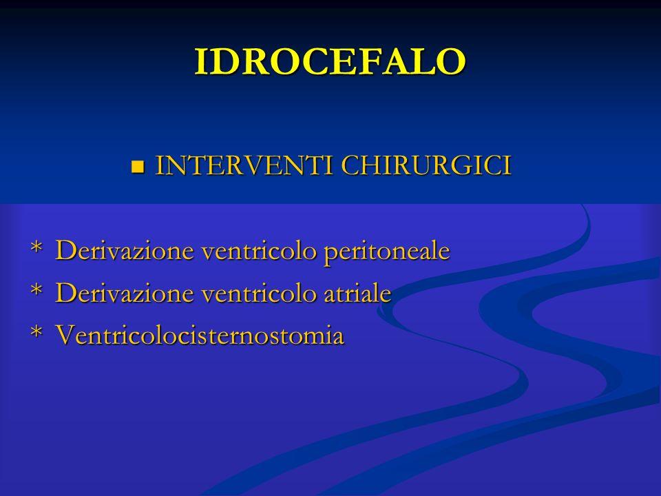IDROCEFALO INTERVENTI CHIRURGICI INTERVENTI CHIRURGICI *Derivazione ventricolo peritoneale *Derivazione ventricolo atriale *Ventricolocisternostomia