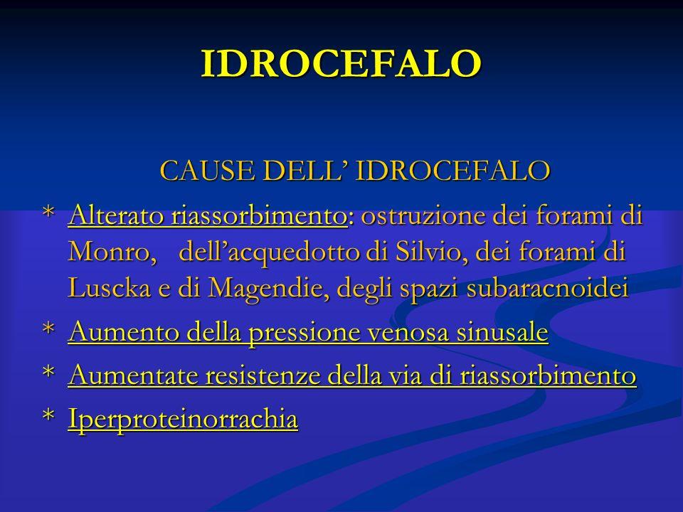 IDROCEFALO CAUSE DELL' IDROCEFALO *Alterato riassorbimento: ostruzione dei forami di Monro, dell'acquedotto di Silvio, dei forami di Luscka e di Magen