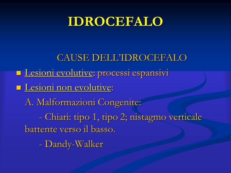 IDROCEFALO CAUSE DELL' IDROCEFALO Lesioni non evolutive: Lesioni non evolutive: *B.