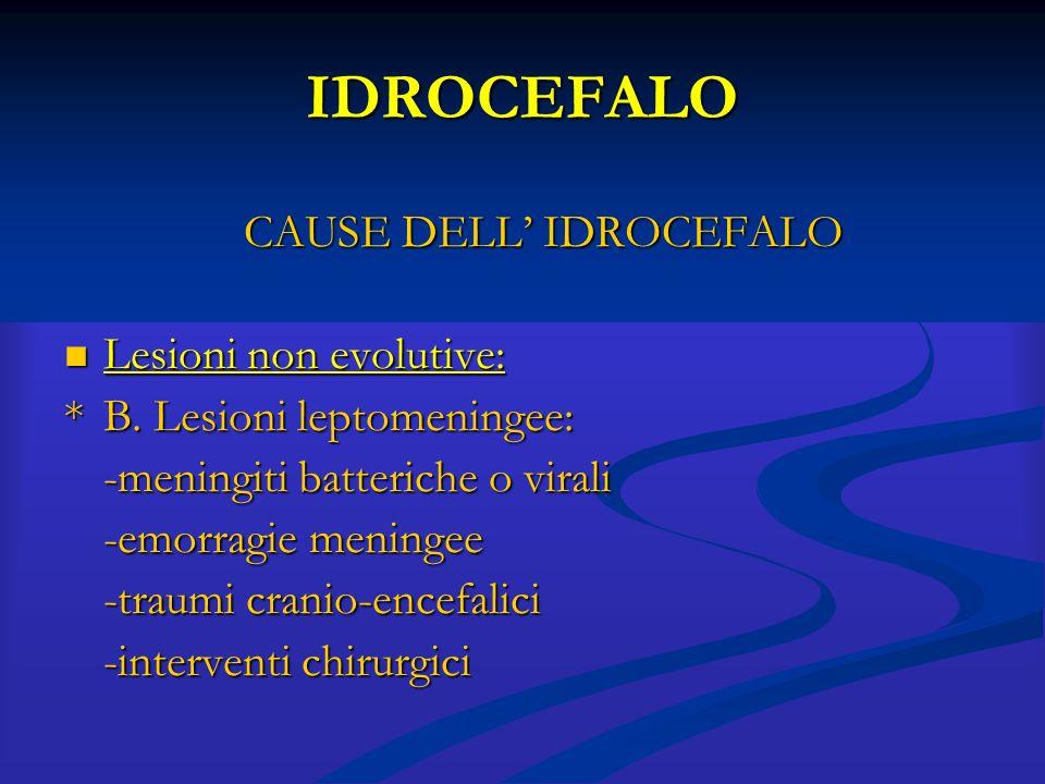 IDROCEFALO CAUSE DELL' IDROCEFALO Lesioni non evolutive: Lesioni non evolutive: *B. Lesioni leptomeningee: -meningiti batteriche o virali -emorragie m