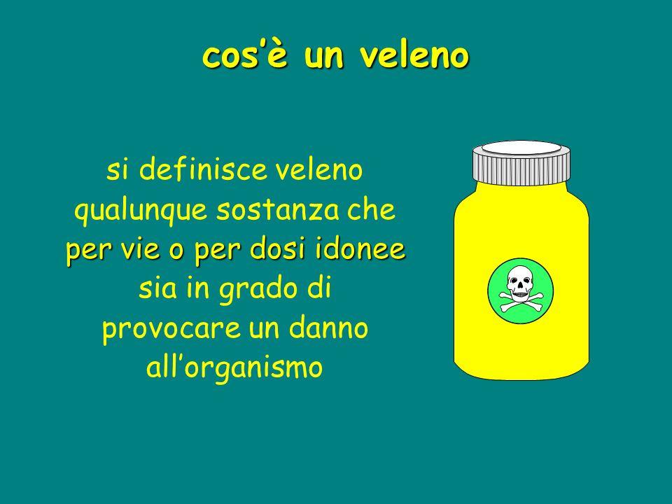 cos'è un veleno si definisce veleno qualunque sostanza che per vie o per dosi idonee sia in grado di provocare un danno all'organismo