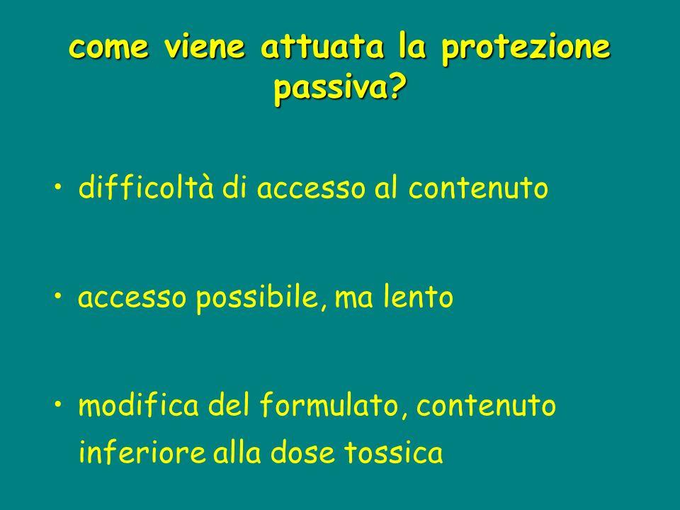 come viene attuata la protezione passiva? difficoltà di accesso al contenuto accesso possibile, ma lento modifica del formulato, contenuto inferiore a