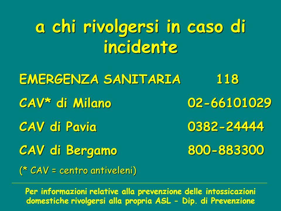 a chi rivolgersi in caso di incidente EMERGENZA SANITARIA118 CAV* di Milano02-66101029 CAV di Pavia0382-24444 CAV di Bergamo800-883300 (* CAV = centro antiveleni) Per informazioni relative alla prevenzione delle intossicazioni domestiche rivolgersi alla propria ASL - Dip.