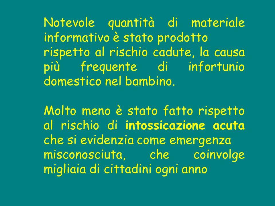 Notevole quantità di materiale informativo è stato prodotto rispetto al rischio cadute, la causa più frequente di infortunio domestico nel bambino.